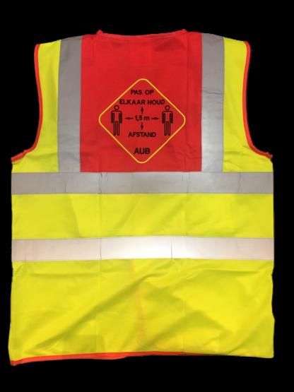veiligheidsvestjes geel rood 1,5 meter afstand PAS OP ELKAAR