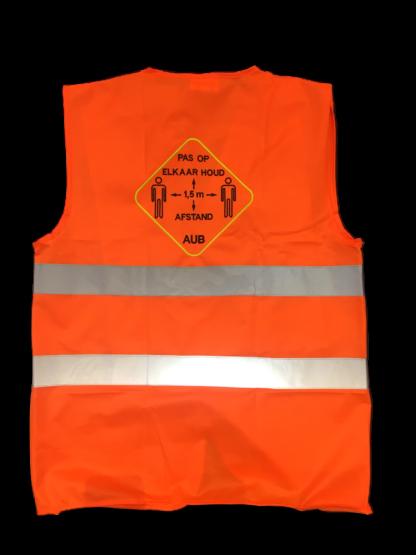 veiligheidsvestjes oranje 1,5 meter afstand PAS OP ELKAAR